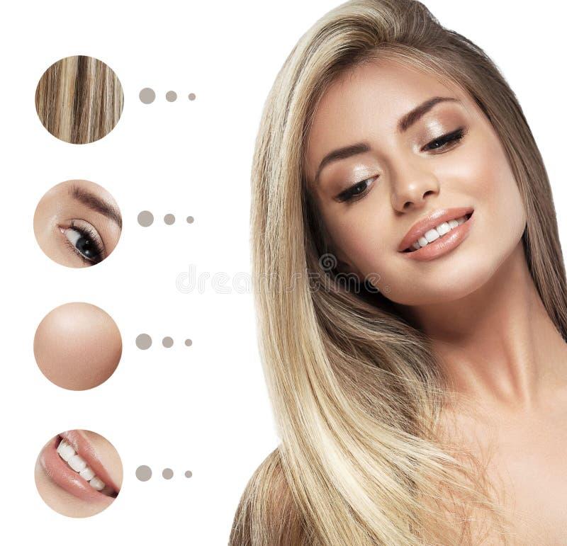 秀丽妇女面孔画象 有完善的新鲜的干净的皮肤的美丽的温泉模型女孩 青年时期和护肤概念 库存照片