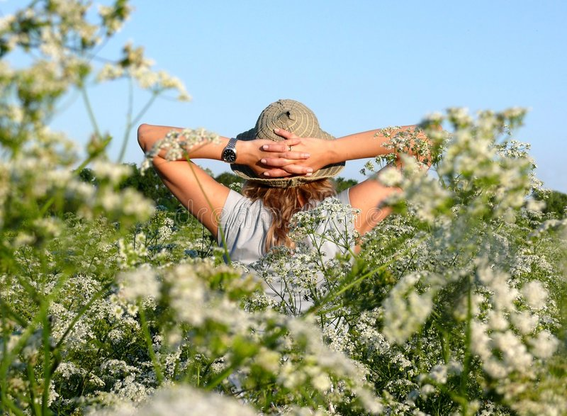 秀丽开花的女孩和谐草甸 免版税库存照片