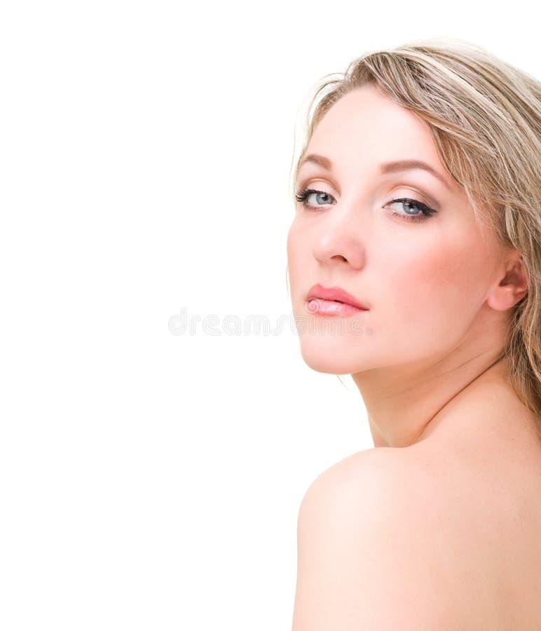 美丽的妇女面孔。 看照相机。 图库摄影
