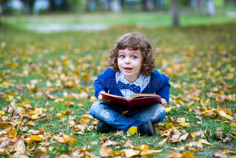 秀丽微笑的儿童男孩阅读书室外在绿草 库存照片