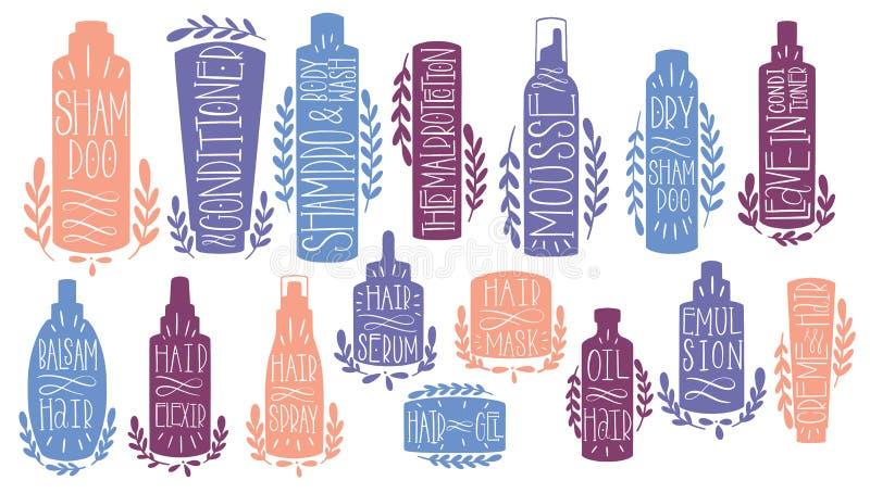 秀丽护发集合手凹道 形状化妆调节剂,mosse,dryshampoo,文本,leavein,凤仙花,elexir,血清,面具,胶凝体, 向量例证
