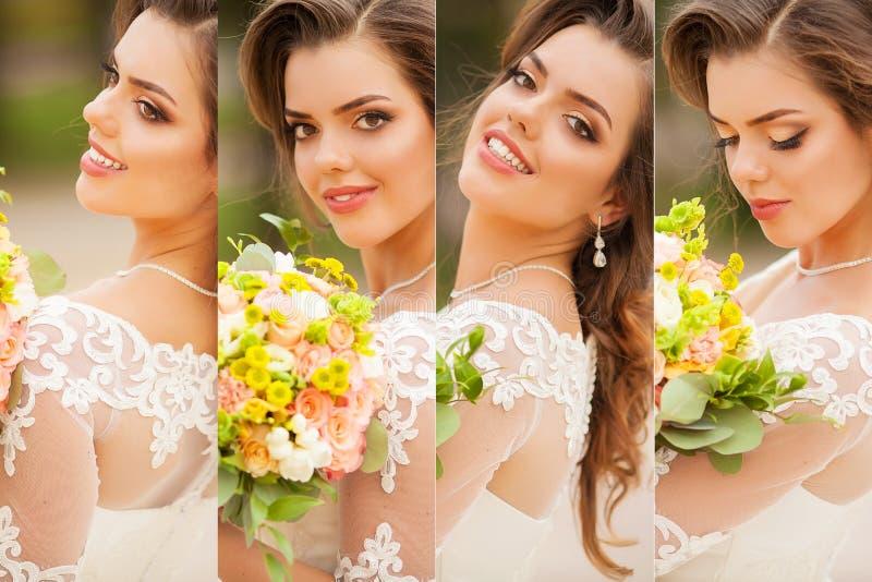 秀丽拼贴画 美丽和时尚新娘 库存图片
