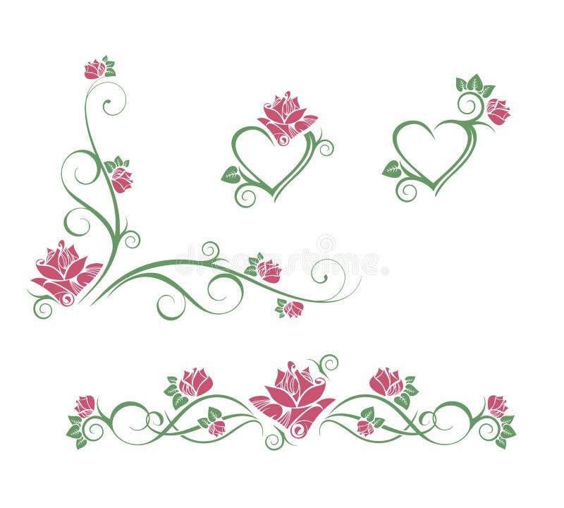 秀丽接近的花自然桃红色玫瑰色 向量例证