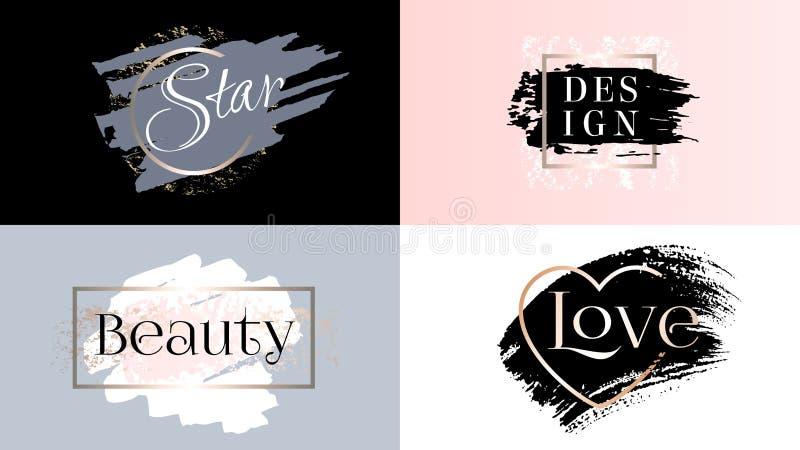 秀丽时尚框架象商标集合 化妆用品金黄油漆、墨水绘画的技巧、刷子、线或者纹理 库存照片