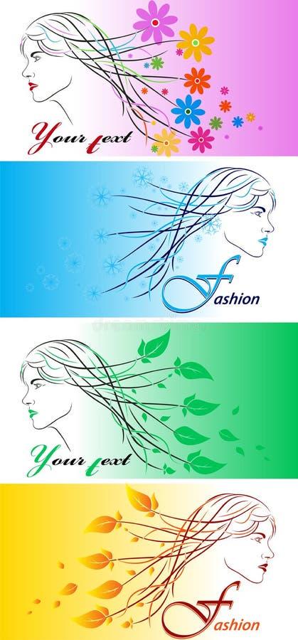 秀丽时兴的女孩 表面花卉发型剪影妇女 抽象背景花 也corel凹道例证向量 皇族释放例证
