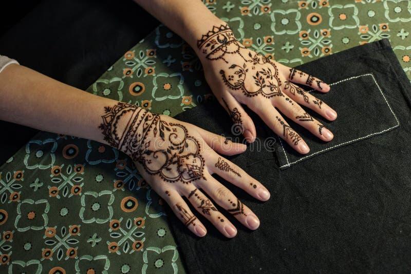 秀丽概念-两用无刺指甲花mehendi纹身花刺装饰的手女孩 特写镜头,顶上的看法 库存照片