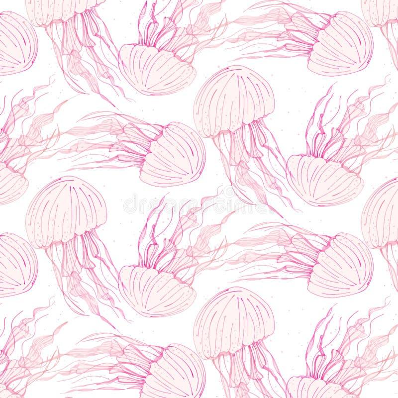 秀丽水母盖子 危险水母海生动物 热带水下的海洋动物样式 野生生物背景 皇族释放例证