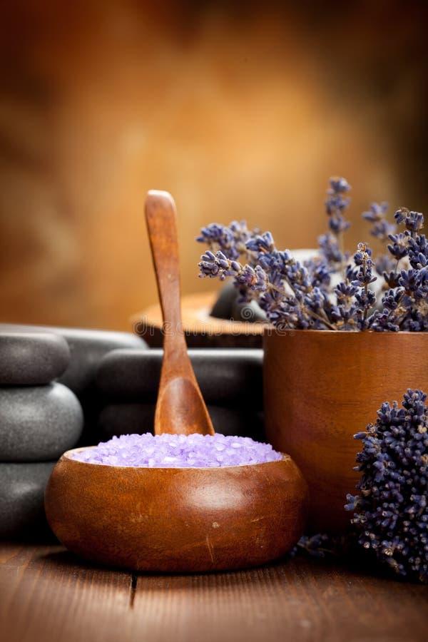 秀丽淡紫色温泉处理 免版税库存照片