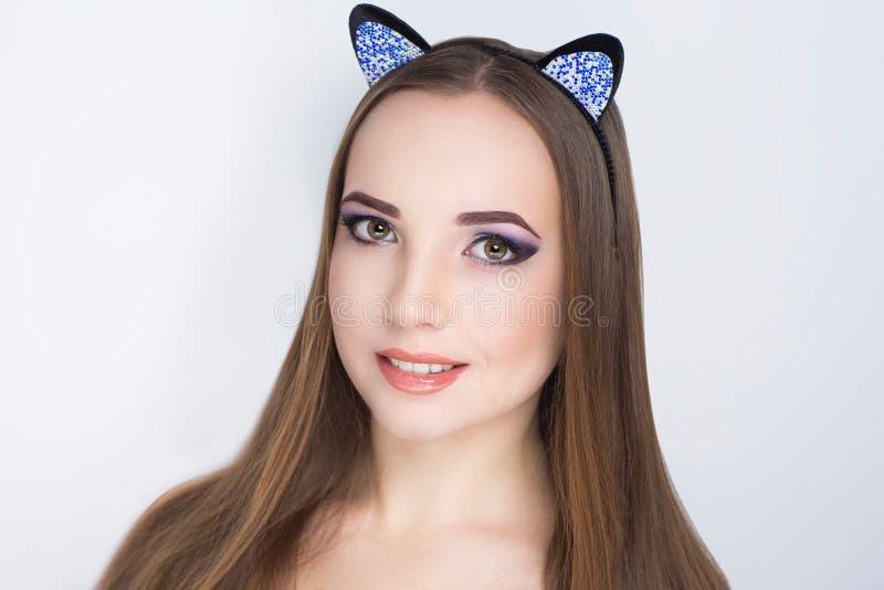 秀丽猫妇女 免版税库存照片