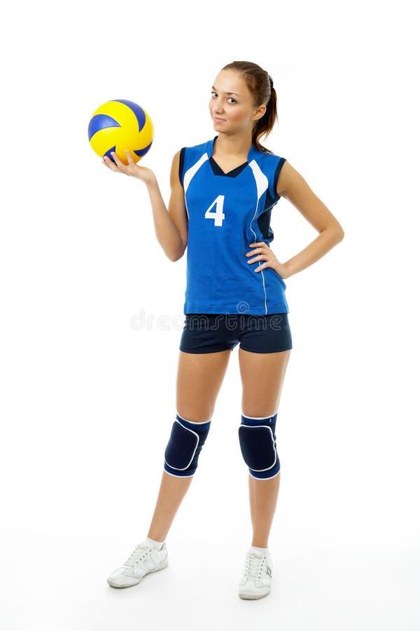 秀丽球员排球年轻人 免版税图库摄影