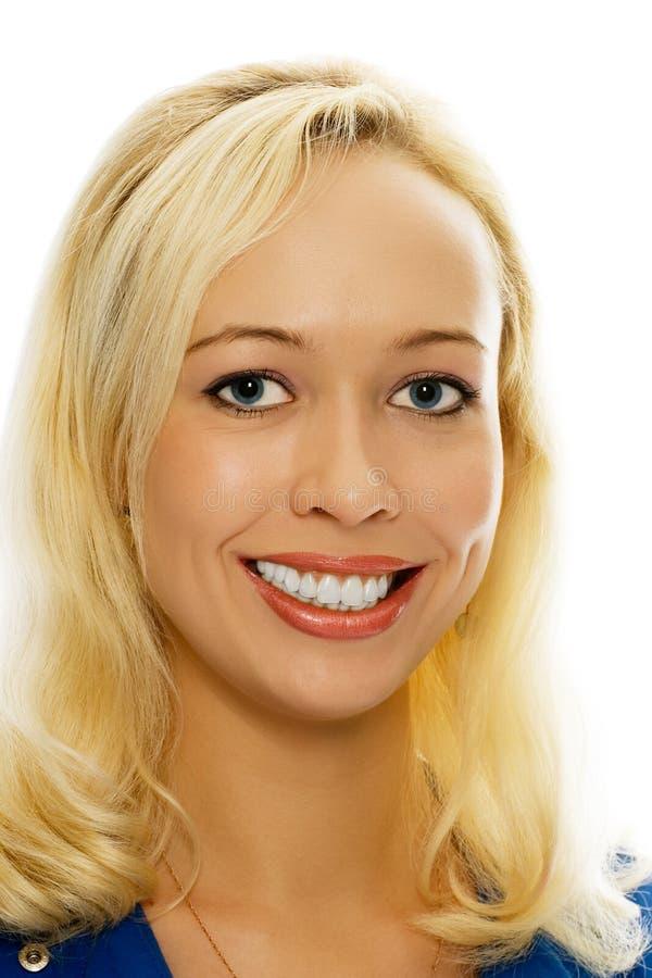 秀丽白肤金发的女孩纵向 免版税库存图片