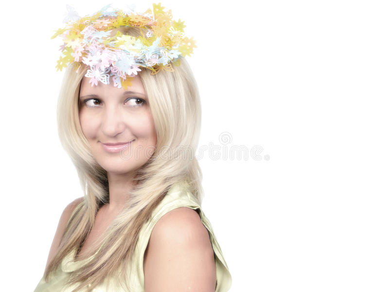 秀丽白肤金发的纵向样式时髦年轻人 免版税库存图片
