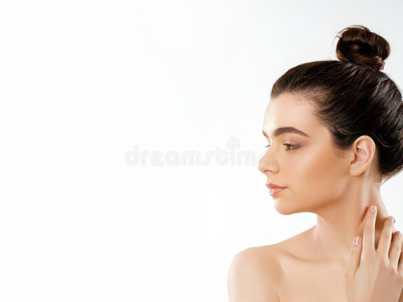 秀丽表面 有自然构成的美丽的妇女 式样女孩特写镜头画象有健康光滑的脸皮的 高分辨率 库存图片
