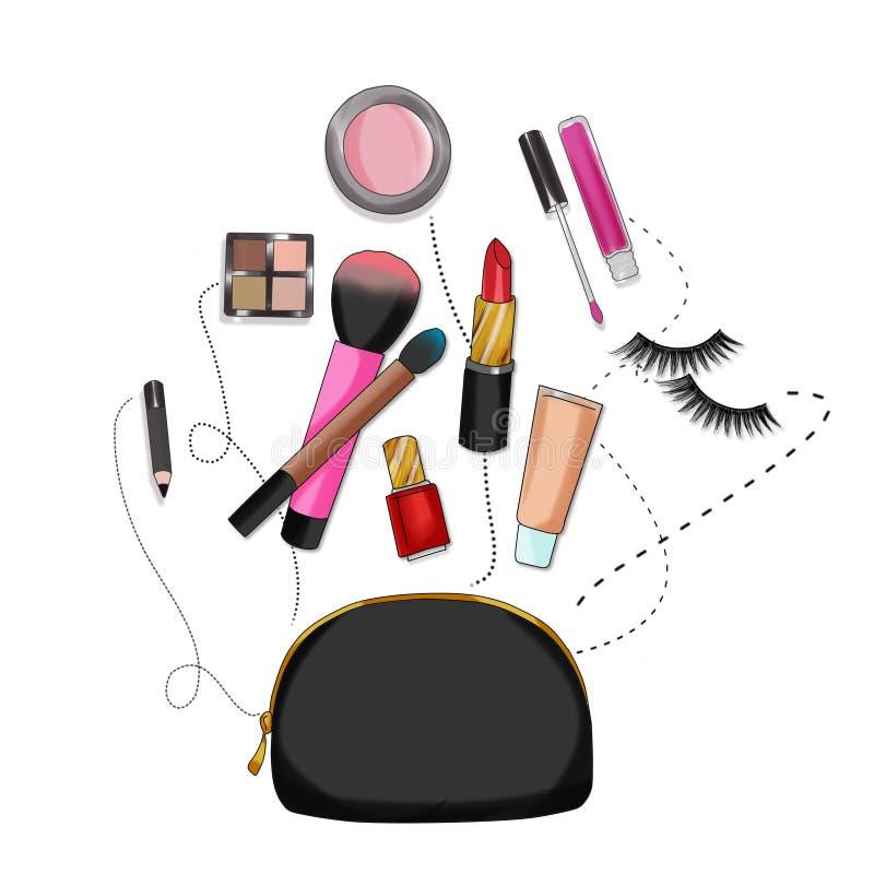秀丽袋子与组成和化妆用品 向量例证