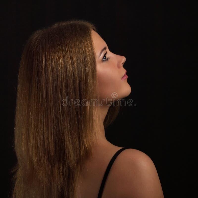 秀丽长期女孩头发 免版税库存图片