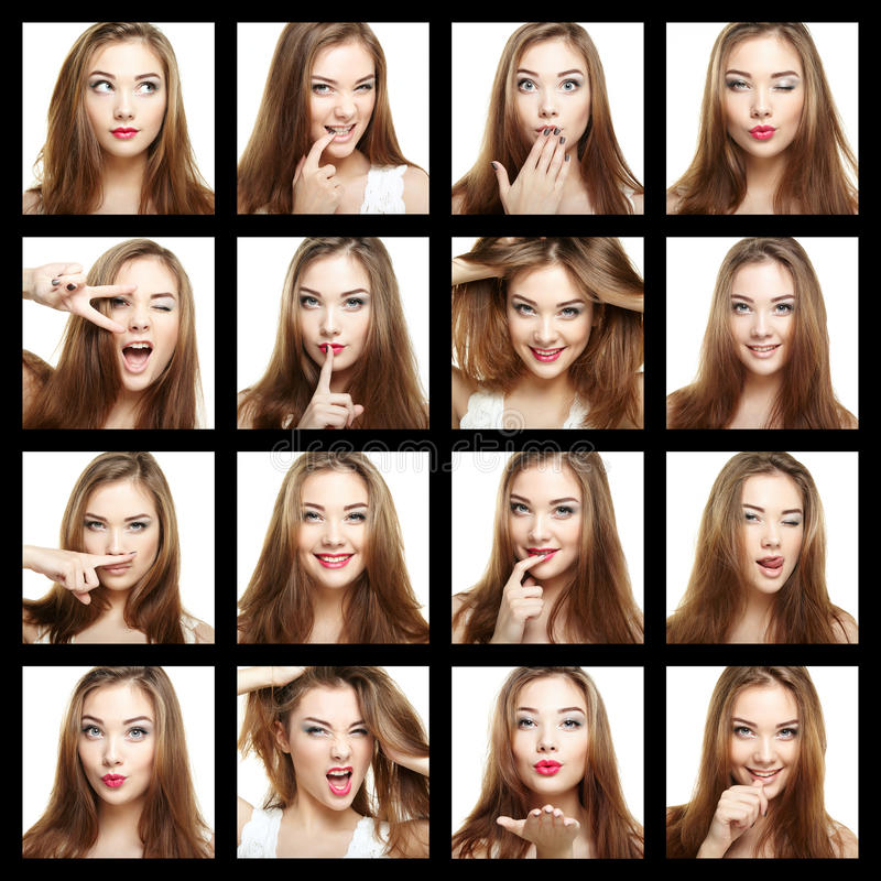 秀丽面孔妇女拼贴画  美丽女孩微笑 库存图片