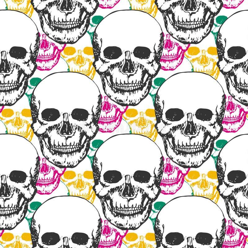 秀丽头骨样式 与颜色三角的手拉的无缝的背景纺织品的,织品,包裹 艺术轻的向量世界 皇族释放例证