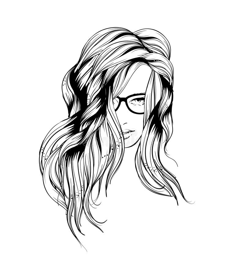 秀丽coloful设计要素表面女孩例证 向量例证