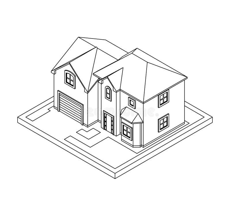 私有房子图画  库存例证