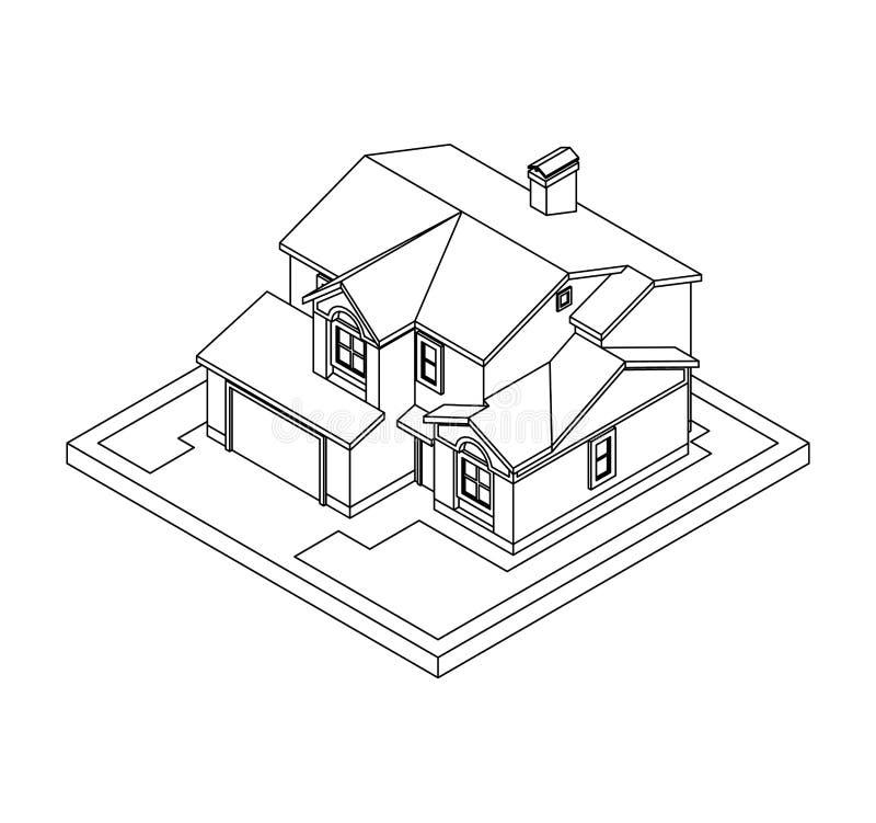 私有房子图画  皇族释放例证