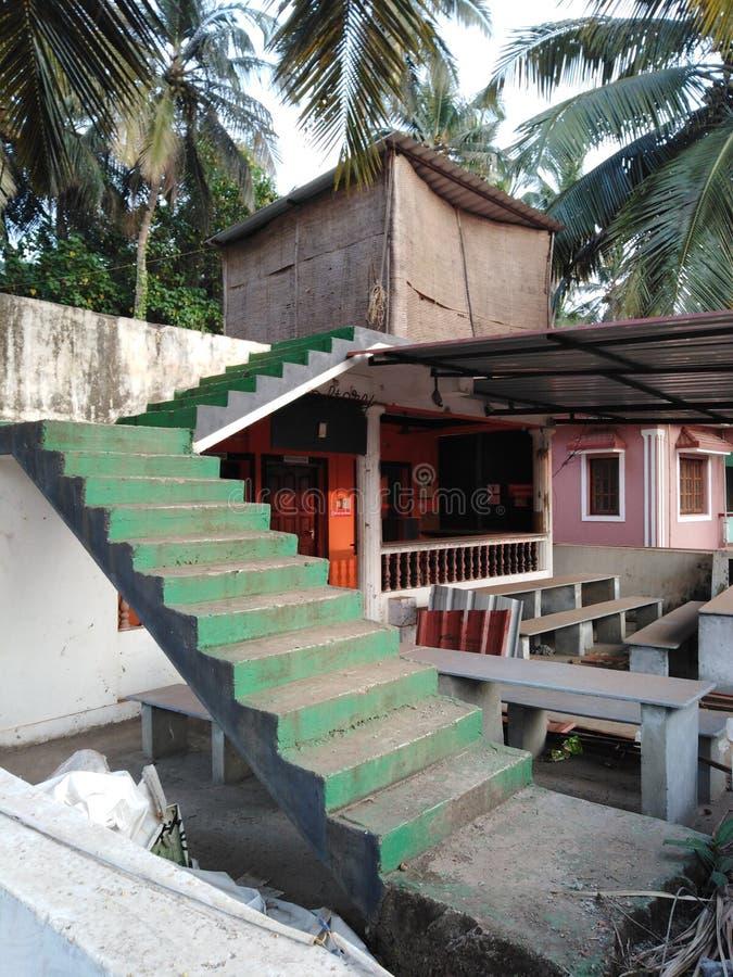 私有房子在Mandrem-Ashvem,果阿,印度 免版税图库摄影