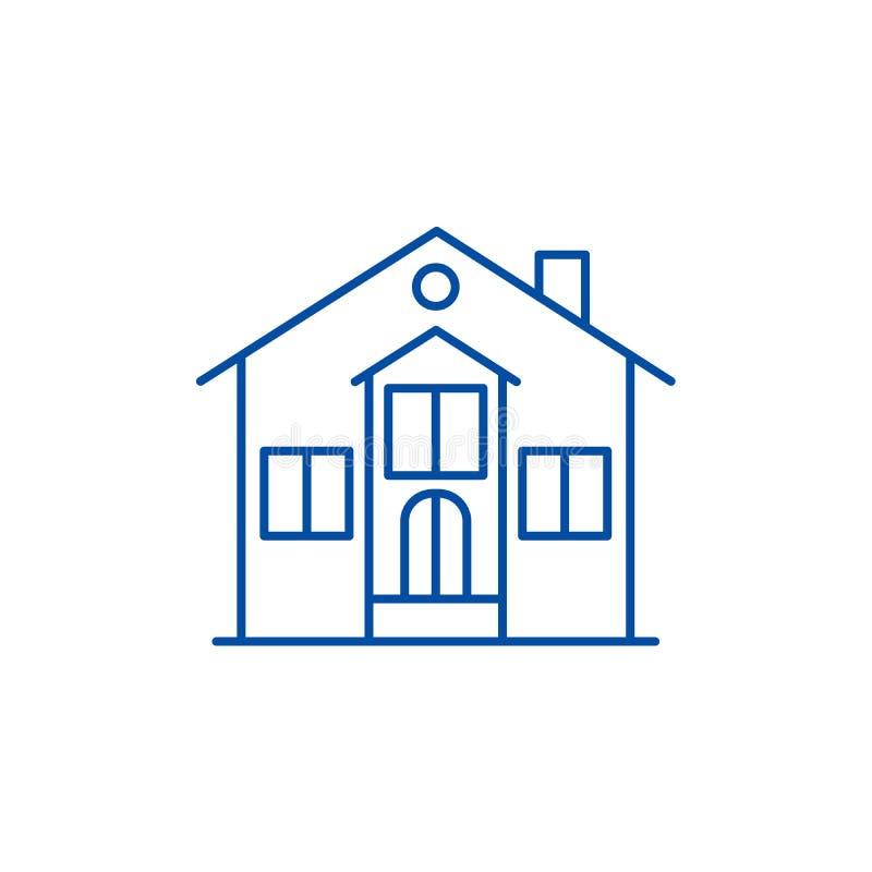 私有房子线象概念 私有房子平的传染媒介标志,标志,概述例证 库存例证