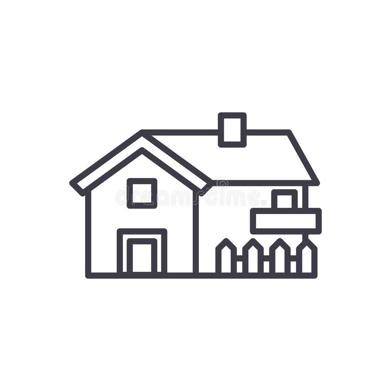 私有房子黑色象概念 私有房子平的传染媒介标志,标志,例证 向量例证