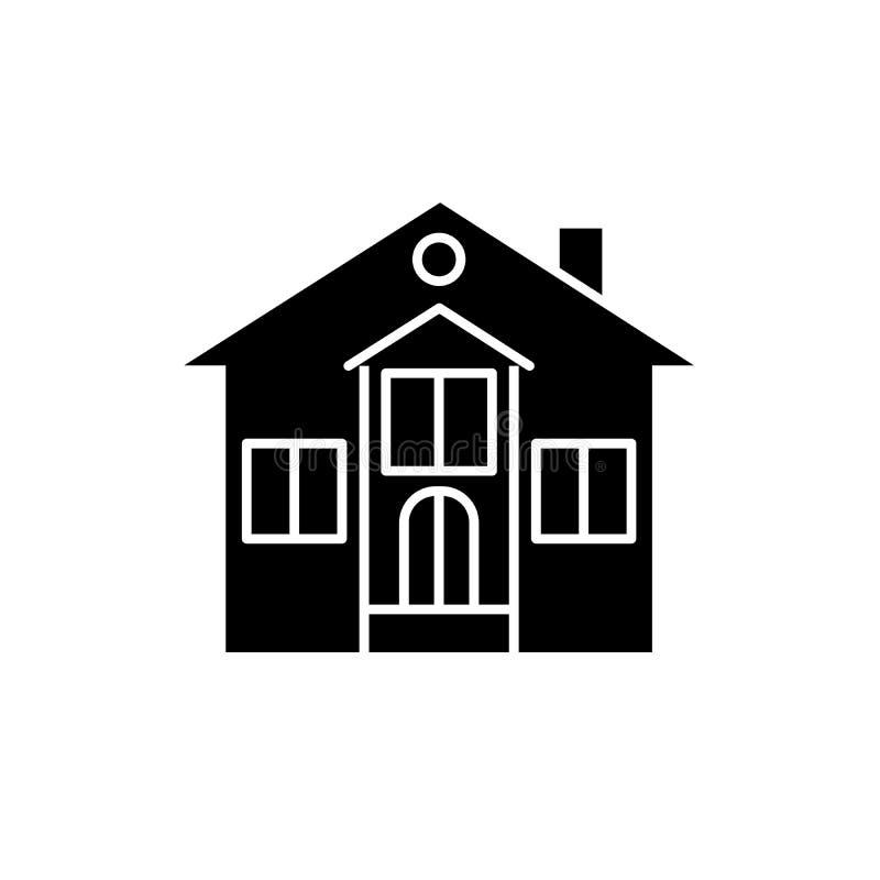 私有房子黑色象,在被隔绝的背景的传染媒介标志 私有房子概念标志,例证 皇族释放例证