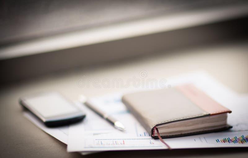私有组织者和笔 免版税库存照片