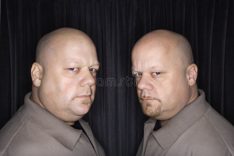 秃头人孪生 库存照片