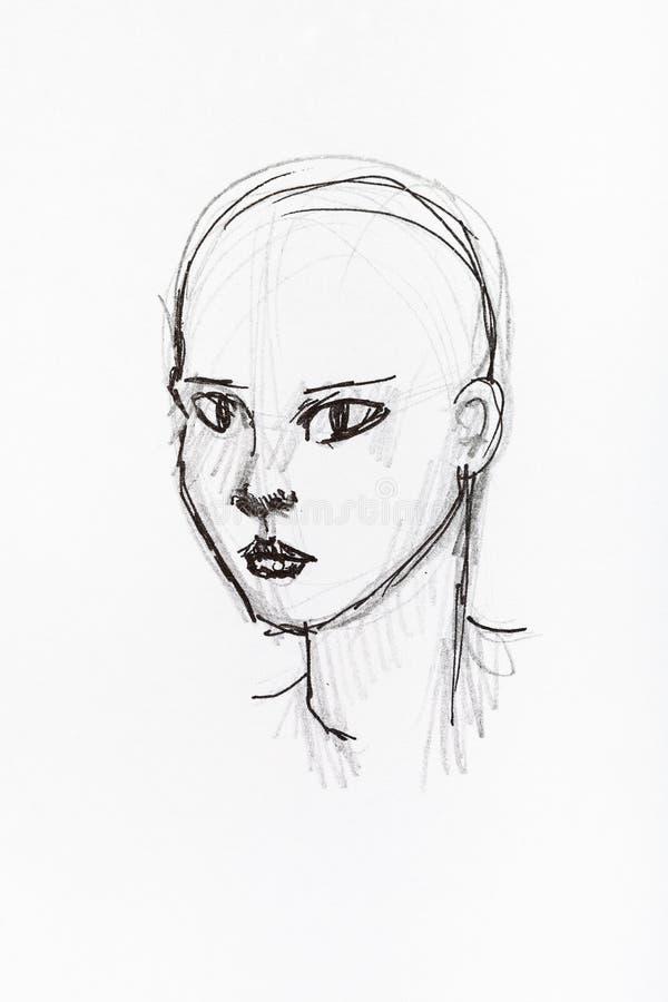 秃头女性头手拉由贷方 向量例证