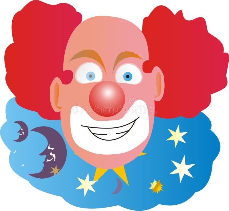 秃头小丑头发中间红色 库存照片