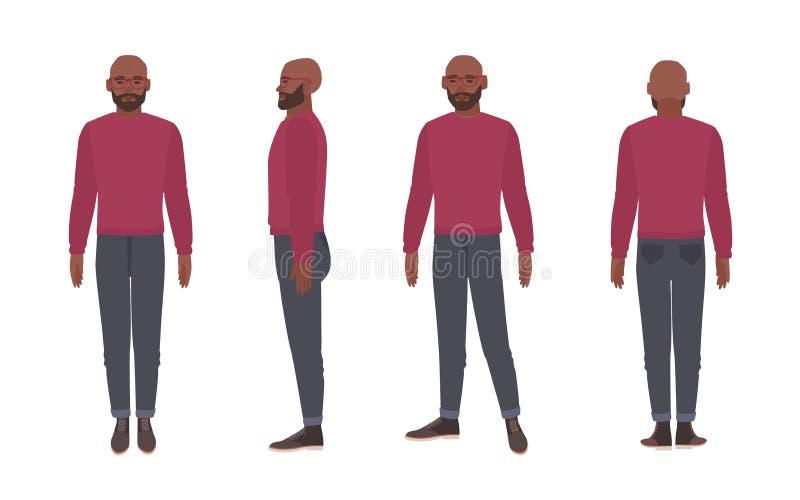 秃头有胡子的非裔美国人的人戴着眼镜和套头衫 在白色背景隔绝的滑稽的男性漫画人物 向量例证