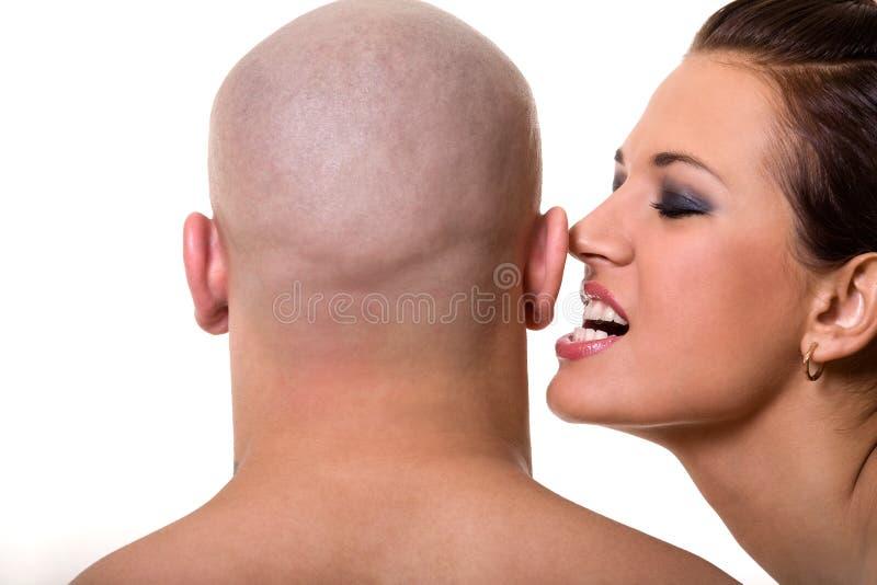 秃头美丽的女孩人 免版税图库摄影