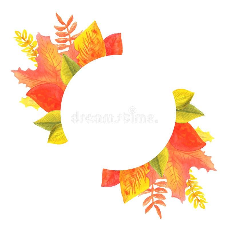 秋叶以在颜色的红色橙黄色绿色 对横幅,设计,卡片 免版税库存照片