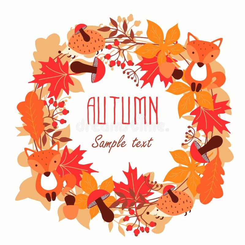 秋叶圆的框架  秋天,叶子,花圈 皇族释放例证