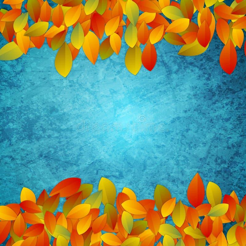 秋叶抽象背景在难看的东西蓝色混凝土墙上的 库存例证
