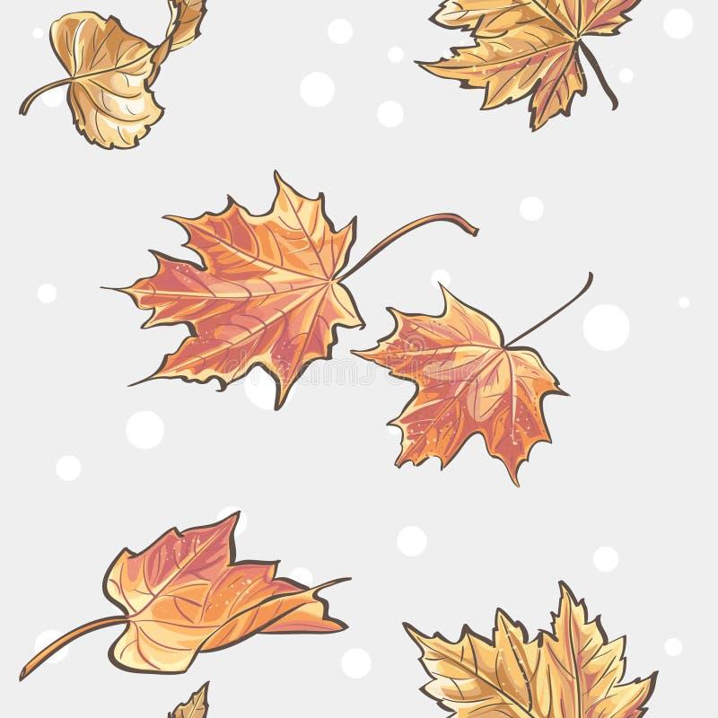 秋叶无缝的纹理  皇族释放例证
