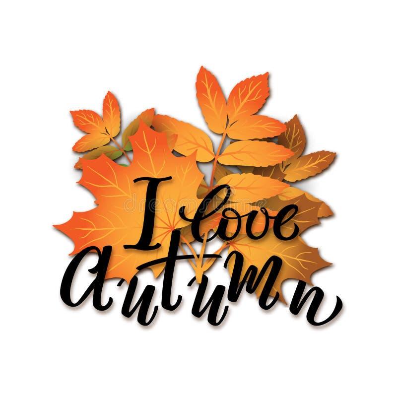 秋叶现实传染媒介花束-有手拉的字法的橙色槭树和欧洲花楸叶子我爱秋天被隔绝 向量例证