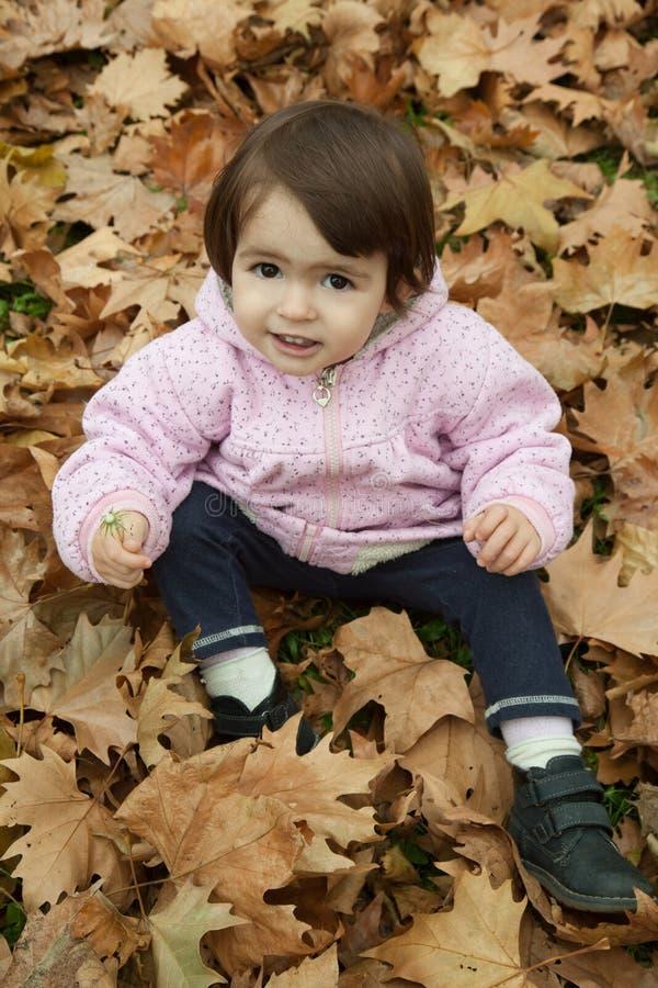 秋叶的女孩 图库摄影