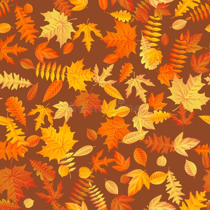 秋叶背景无缝的样式 10 eps 库存例证