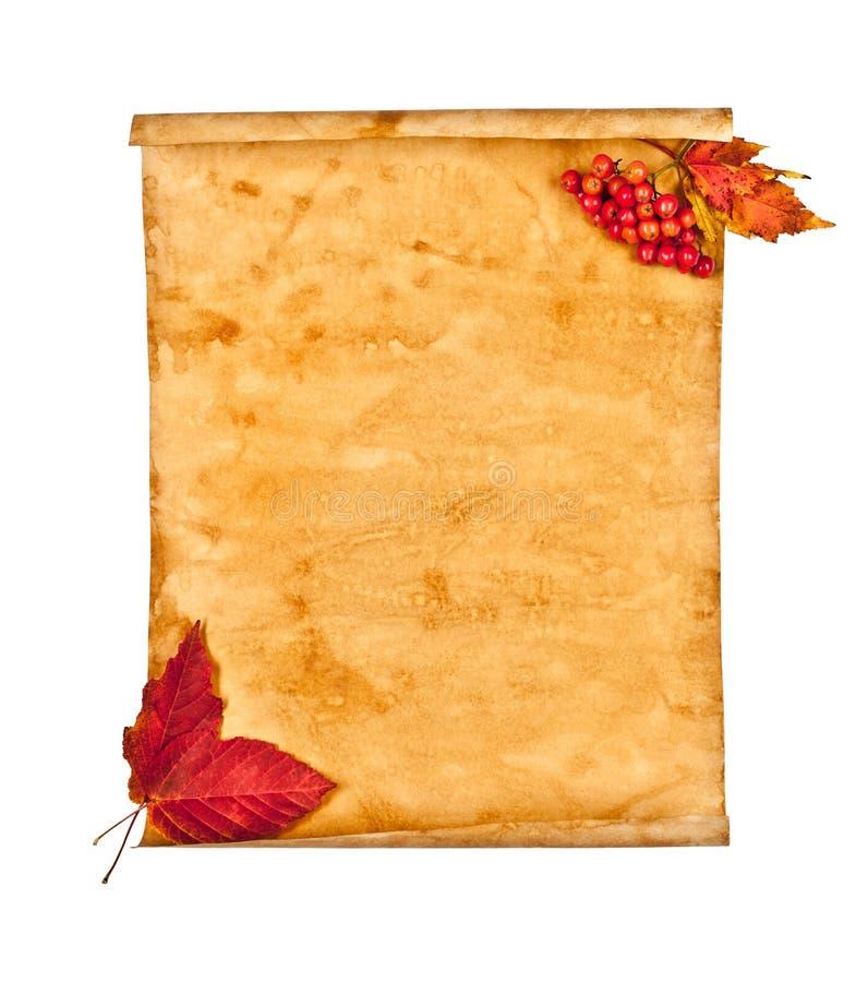 秋叶附注老纸张 免版税库存图片