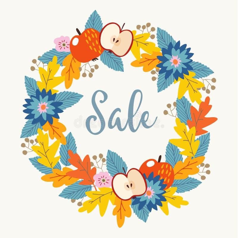 秋天、秋天销售海报与手拉的花卉花圈由五颜六色的橡木叶子制成,莓果、花和苹果结果实 库存例证