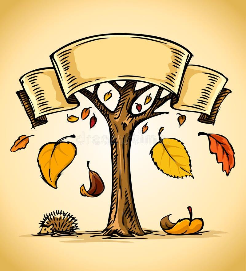秋天下跌的叶子结构树向量黄色 库存例证