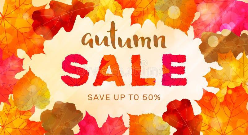 秋天与五颜六色的叶子的销售横幅在晴朗的背景 好 向量例证
