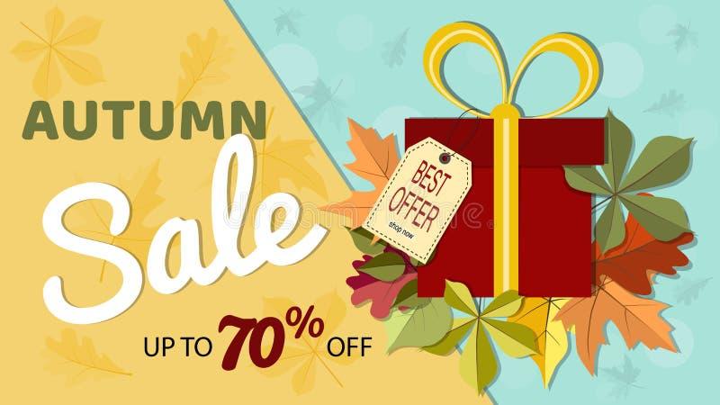 秋天与五颜六色的秋天叶子和礼物bo的销售横幅 皇族释放例证