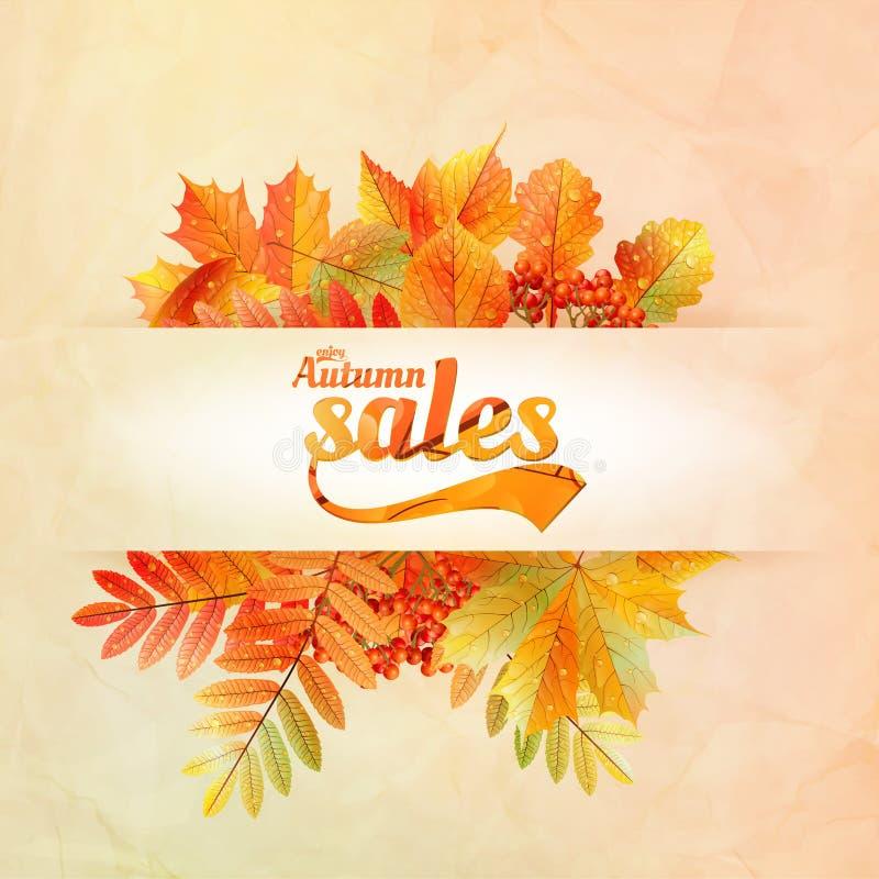 秋天与叶子的销售海报在一张老纸 向量例证