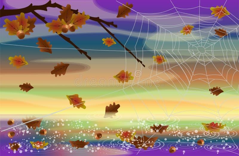 秋天与橡木分支和蜘蛛网,传染媒介的自然明信片 库存例证