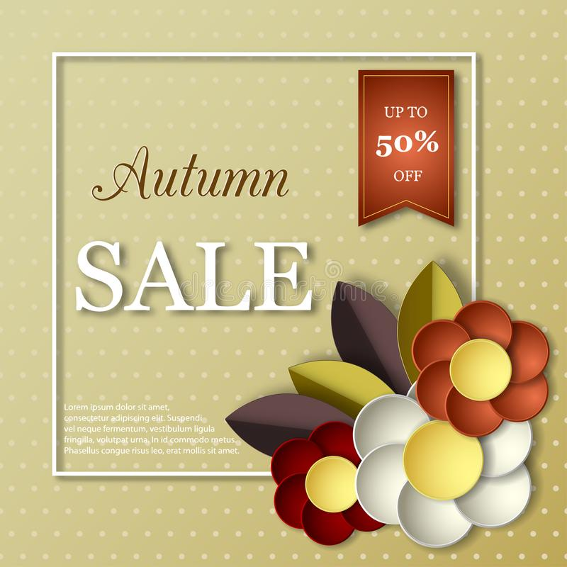 秋天与纸的销售横幅切开了3D花 向量例证