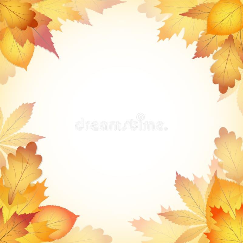 秋天与落从树的叶子的设计背景 EPS1 皇族释放例证